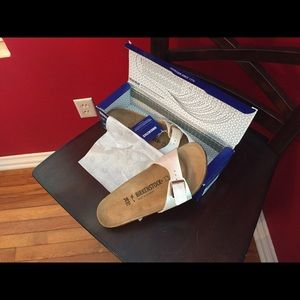 Birkenstock cream metallic sandals. Really pretty